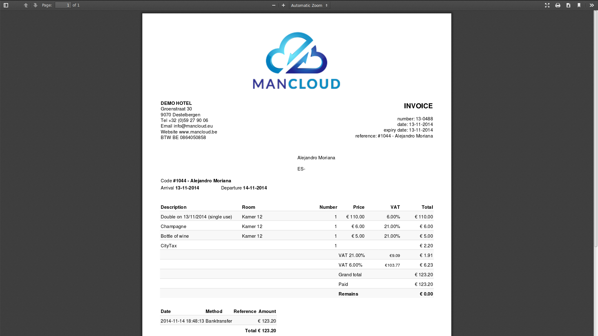 Screenshots | ManCloud   PMS web based Hotel Software